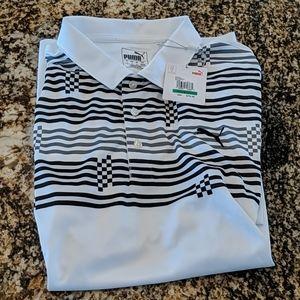 Puma Golf Glitch Stripe Polo Quiet Shade Mens L